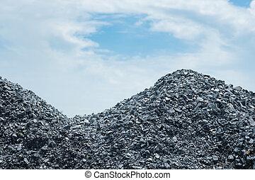 graue , stein, bereiten, beton, mischling, haufen , kies, construction.