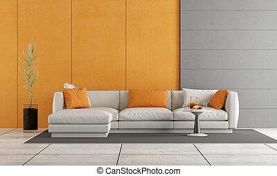 Orange, wohnzimmer. Lebensunterhalt, tür, zimmer, sofa, modern ...
