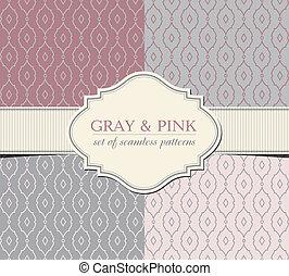 graue , und, rosa, seamless, muster