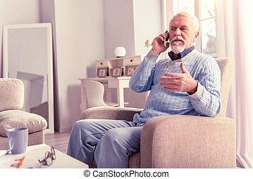 grauhaarig, dringend, antworten, sauber, telefonanruf, älter