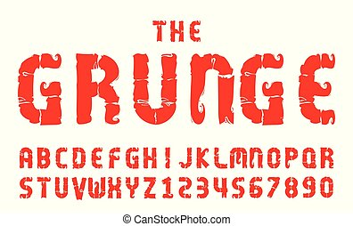 Graunge fonts alphabet letter. numbers vector illustration.