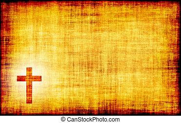 gravé, croix, saint, parchemin