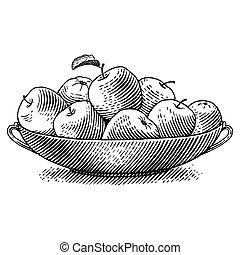 gravé, pommes