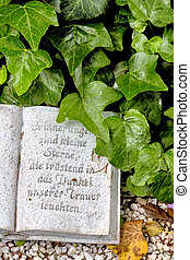 grav, med, inskrift