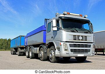 grava, camión, gris, remolque