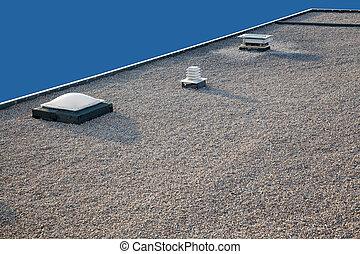 grava, chimenea, claraboya, techo, invertido