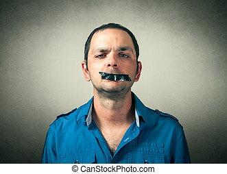 gravado, homem, boca, retrato