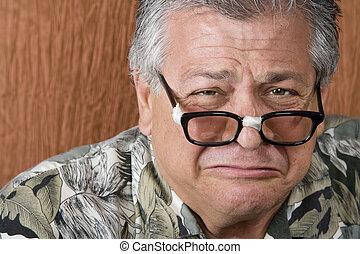 gravado, homem, tolo, óculos