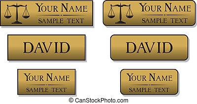 gravado, metal, nome, emblemas