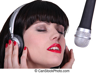 gravando, cantor, mulher, estúdio
