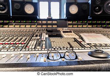 gravando, dentro, estúdio