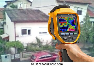 gravando, edifícios, com, térmico, câmera