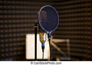gravando, escuro, microfone, sala, vocal