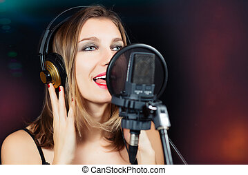 gravando, estrela, estúdio, rocha