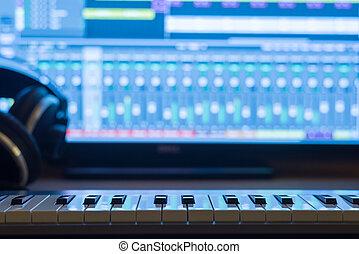 gravando, lar, estúdio