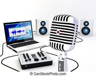 gravando, lar, estúdio, equipamento