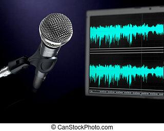 gravando, microfone, studio.