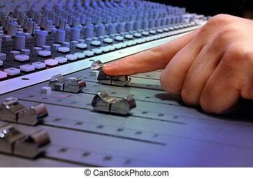 gravando, misturando, estúdio, console