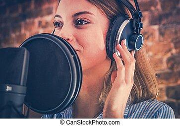 gravando, mulher, audiobook