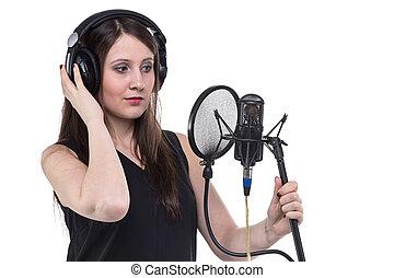 gravando, mulher, fones, vocal