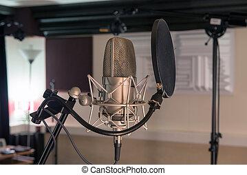 gravando, profissional, microfone, estúdio