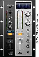 gravando, vetorial, estúdio, controles