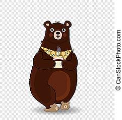 gravata, copo, isolado, urso, segurando, caricatura, chinelos