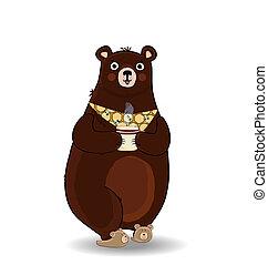 gravata, copo, urso, segurando, branca, caricatura, chinelos
