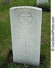 Grave and headstone of an unknown sailor