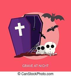Grave At Night Conceptual illustration Design