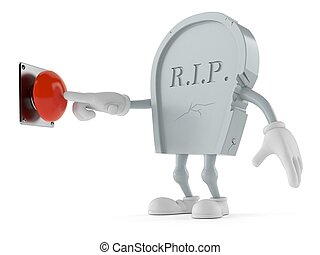 Grave character pushing button on white background