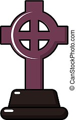 Grave cross icon, cartoon style