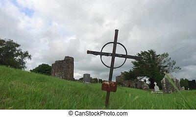 grave cross on celtic cemetery in ireland