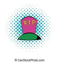 Grave icon, comics style