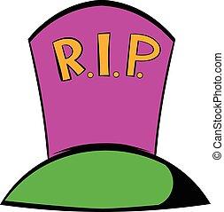 Grave icon, icon cartoon