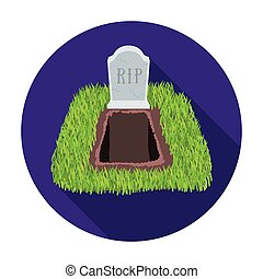 Grave icon in flat style isolated on white background....