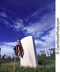 Grave Marker of soldier in Santa Fe National Cemetery in Santa Fe, New Mexico.
