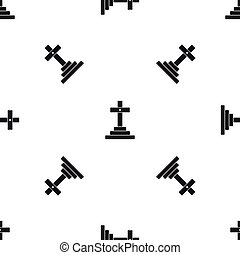 Grave pattern seamless black