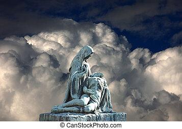 Grave pieta scene with death Jesus Christ. Religious art.