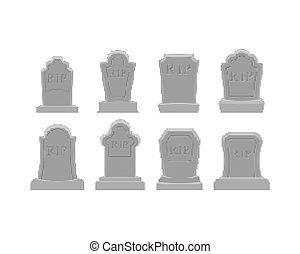 Grave pixel art set. Tomb 8 bit. Gravestone Halloween. RIP Cemetery vector illustration