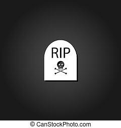 Grave RIP icon flat