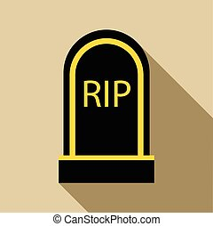 Grave RIP icon, flat style