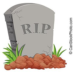 Grave stone on the ground illustration