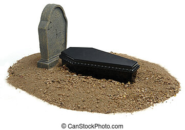 Casket, grave and headstone on white background