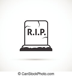 Grave vector icon - Grave icon on white background