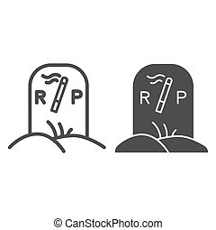 Grave with cigarette line and solid icon, Smoking concept, gravestone and smoking sign on white background, smoker grave icon in outline style for mobile concept and web design. Vector graphics.