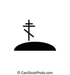 Grave with cross icon, simple style