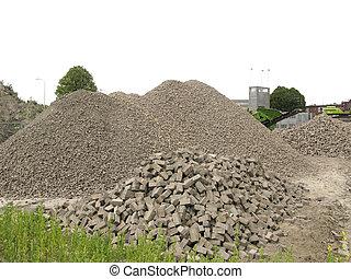 Gravel and bricks