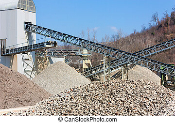 gravel and sand pit - Conveyor belt in the gravel and sand...