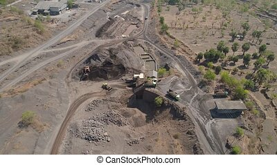 Gravel and sand quarry - Heavy machinery at gravel and sand ...